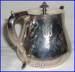 1850s D. B Maker Mark STERLING Silver LOW TEA POT 25.7 Oz Matches Other 2 G. W Pcs