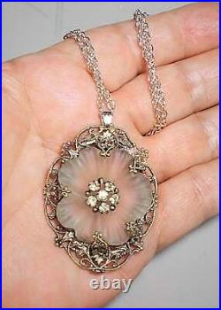 1920s Lovely Camphor Glass Flower Rock Crystal in 377 Marked Antique White Metal
