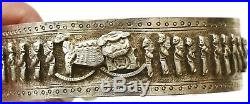 1930' Chinese Sterling Silver Bracelet Bangle Figurine Fu Foo Dog Lion Marked