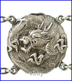 1930's Japanese Sterling Silver Dragon Belt Buckle Marked Pure Silver Jungin