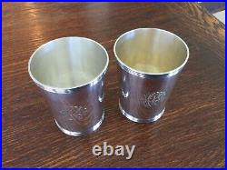 2 Antique Sterling Silver Mint Julep Derby Cups Marked Frank Smith Silver