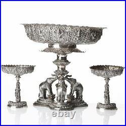 2170 Grams Antique Solid Silver Siam Thai Thailand Garniture Chinese Mark 1900