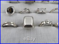 28 Piece Sterling Silver Ring Lot, All Marked, 194 Grams