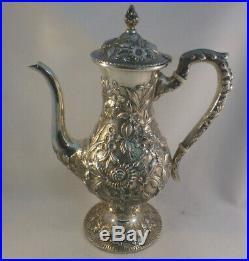 3pc Repousse by Kirk Sterling 925/1000 Mark Demitasse Tea Set #184