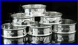 6 Immaculate Cased Sterling Silver Napkin Rings, Mark Houghton Ltd 1997