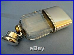ANTIQUE TIFFANY & Co, STERLING SILVER / CUT GLASS HIP FLASK, DATE T MARK