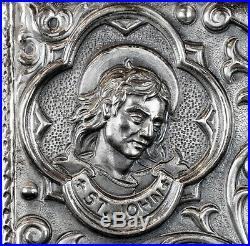 Antique 1900 Christianity Jesus Christ John Mark Luke Matthew Silver Bible Book