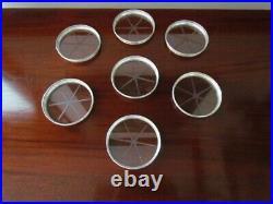 Antique 7 Coaster Set Floral Design Sterling Silver Glass w Caddy Webster Marked