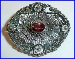 Antique Art Nouveau Genuine Garnet Hand Carved Solid Marked 925 Sterling Pin