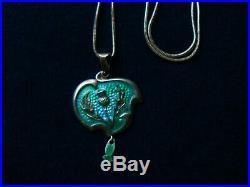 Antique Art Nouveau Sterling Enamel Lavalier Necklace Norway Marked