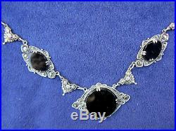 Antique Art Nouveau Sterling Silver Onyx Necklace Marked 16