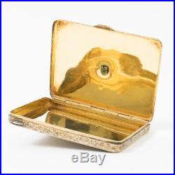 Antique Austro-Hungarian Silver Enamel Snuff Box Mark 835 PV Gold Wash 3x2.25