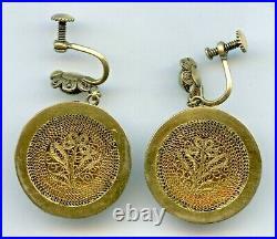 Antique Chinese Carved Jade Jadeite Gilded Sterling Silver Earrings Locket 1900