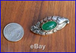 Antique Early Mark Georg Jensen Sterling Silver Green Chrysoprase Brooch #188