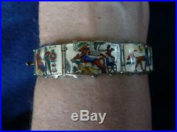 Antique Egyptian Revival Enamel Panel Bracelet WOW Sterling Marked 6.5