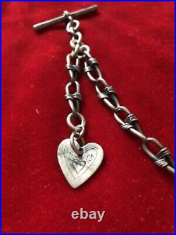 Antique English Sterling Silver T Bar Albert Infinity Watch Chain Necklace Mark