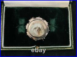 Antique English hand painted enamel dog brooch, Art Deco sterling frame, marked