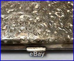 Antique Engraved Sterling Silver (marked 950) Cigarette Case No Monogram