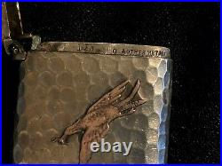 Antique Gorham sterling silver & other metals hand hammered match case marked