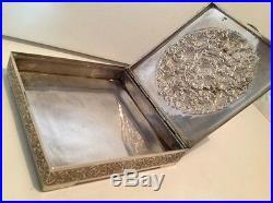 Antique Islamic Persian silver box 435 gram well 19th 1900 xix marked (m1153)