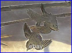Antique Japanese K. Uyeda 950 Sterling Silver withGild Sigarette Case, Meiji, marked