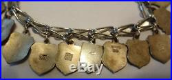Antique Mark 800 Signed REU Enamel Charms Travel Shield Sterling Silver Bracelet