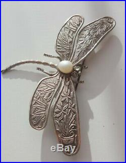 Antique Mark China BJ Sterling Silver Dragonfly Bamboo Wings Rare Pin Brooch