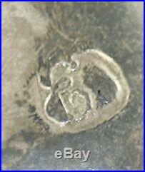 Antique Norway 1870's Sterling Silver Bohemian Garnet Solje Pin Marked Script E