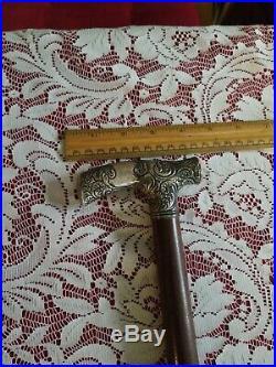 Antique Ornate Marked Sterling Silver Handled & wood Walking Cane 33 3/4