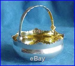 Antique RUSSIAN Cyrillic Mark 875 Sterling Silver Gilt Sugar Basket Bowl Russia