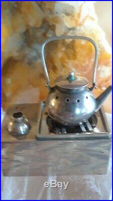 Antique Sterling Silver 950 Figural Salt Pepper Cruet Stove Teapot Marked