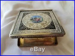 Antique Sterling and Enamel Nudes Cigarette Case, marked 800