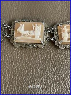 Antique Victorian Sterling Silver Cameo Link Bracelet with marcasite 800 Mark