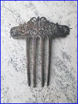 Antique Victorian Sterling Silver Marked Etched Filigree Hair Comb 13g