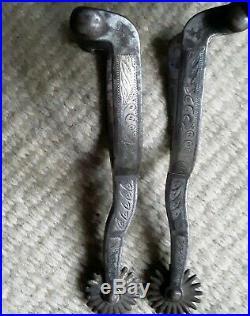 Antique Western Spurs Buermann Maker Marked Mounted Sterling Silver
