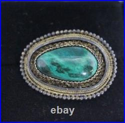 Antique sterling silver pin brooch Marked Made in Israel 935 Malachite stone