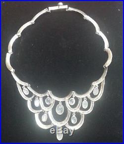 Antonio Pineda Taxco Sterling 970 Moonstones Wavy Links Bib Necklace. Marked