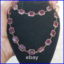 Art Deco 925 Sterling Silver Pink Crystal Bracelet & Necklace Marked 925 510 9