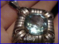 Art Nouveau Sterling Silver Blue Zircon Paste Drop Necklace Marked 830