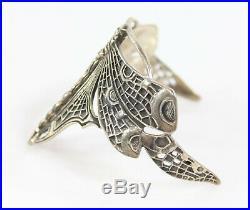 Art Nouveau Sterling Silver Dragonfly Cuff Bracelet Marked'WTS' &'925' 30.6g