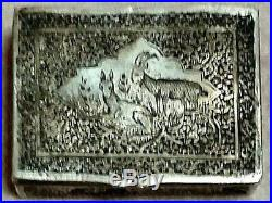 BEAUTIFUL PERSIAN ANTIQUE NIELLO SILVER SNUFF TOBACCO BOX bessamim SGND MARKED