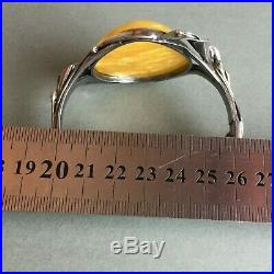 Beautiful Egg Yolk Baltic Amber Sterling Hinged Bangle Bracelet Marked 40g HUGE