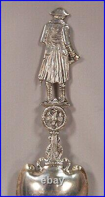 Beautiful Large Marked Sterling Silver High Relief Napoleon Sculpture Spoon