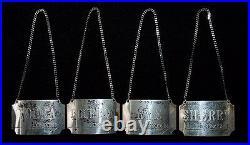Beautiful Set 4 BOAC Concorde Sterling Silver Liquor Bottle Labels Date Marked