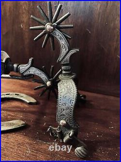 Classic Handmade Sterling Silver Inlay Spurs Single Mounted Maker Marked