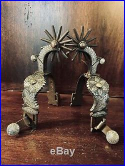 Classic Handmade Sterling Silver Inlay Tapia Style Single Mounted Spurs Marked