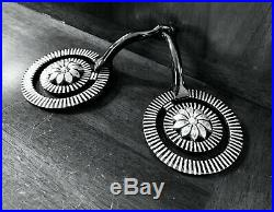 Classic Sterling Silver Inlay Daisy Snaffle Bit Striped Pattern Marked Egarcia