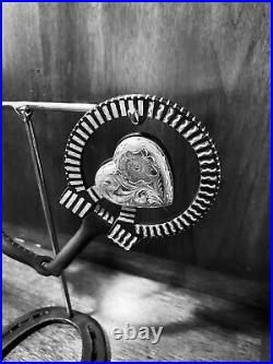 Classic Sterling Silver Overlay Heart Motif Snaffle Bit Maker Marked Garcia