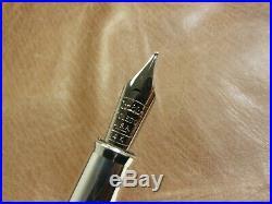 Conklin Mark Twain Sterling Silver Crescent Fountain Pen 14k'm' Gold Nib New