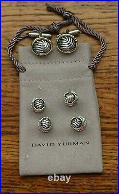 David Yurman Tuxedo Shirt Studs & Cufflinks Marked Sterling Silver 14k Gold